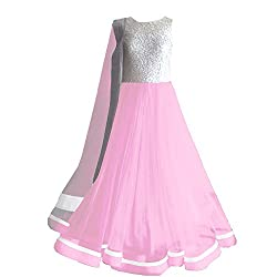 Clickedia Women's Faux Georgette Silver Baby Pink Anarkali Salwar Suit Dress Material (Baby Pink_Free Size)