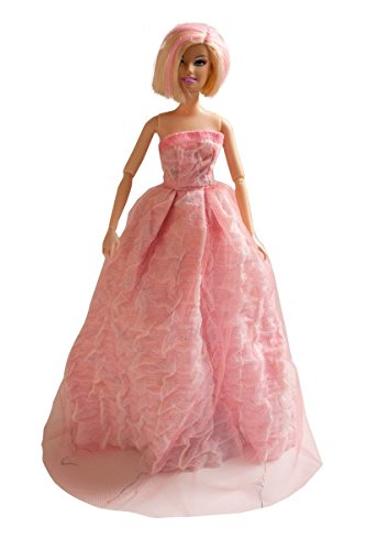 Barbie Handmade Winter Gown, Pink Winter Gown, Made to Fit Barbie Doll