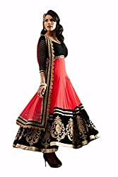 INDIA FASHION SHOP BLACK PINK EMBROIDERED WORK NET UN-STITCHED DRESS