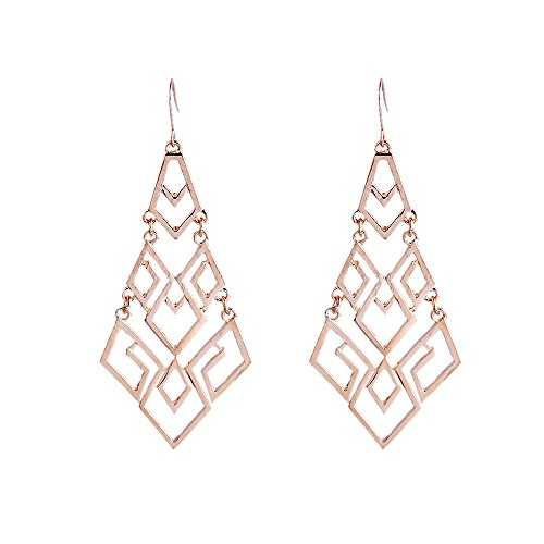 Lureme Hollow Style Gold Tone Rhombus Shape Alloy Dangle Earrings For Women And Girls (02002921)