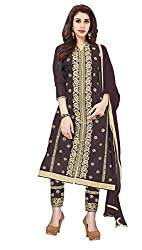 Khushali Presents Embroidered Cotton Dress Material (Coffee)