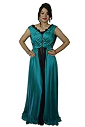 Yuveeka Creations Satin Turquoise V-Neck Plain Gown with Printed Secret Pant