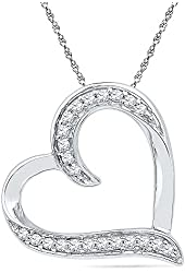 Sterling Silver White Round Diamond Heart Pendant (1/6 Cttw)