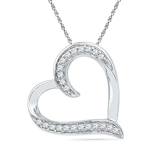 Sterling-Silver-White-Round-Diamond-Heart-Pendant-16-Cttw