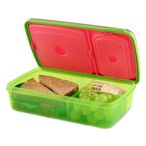 Kids' Soft Touch Lid Meal Carrier (Pink/Green) - 1