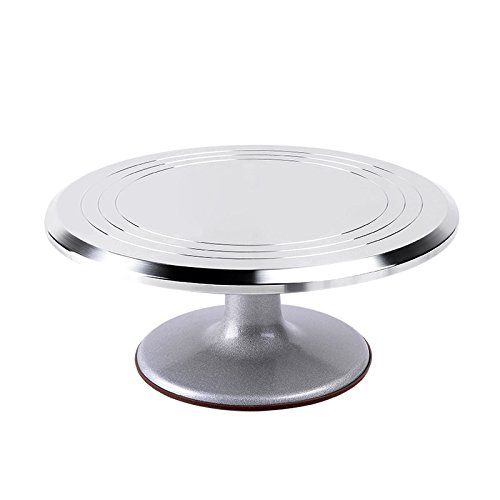 Ohuhu Aluminium Alloy Cake Turntable 12 Inch Revolving Rotating Cake Decorating Stand with Non-Slip Rubber Bottom (Revolving Pedestal compare prices)