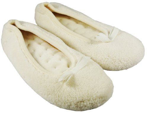 Cheap Isotoner Iso Pillowstep Ballet Style Slippers in Porcelain White Size S/P Fits Ladies Shoe Size 5 – 6 (B009CYZ5XC)