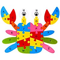 Zerowin Wooden Toys Cute Animals Shaped Alphabet Puzzle Educational Learn Letters Numbers Jigsaw Gifts,Crab