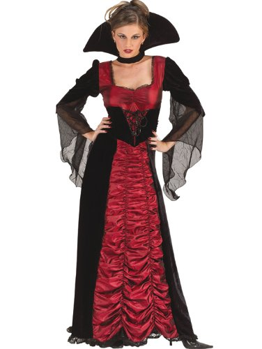 Coffin Vampress Theatre Costumes Red Black Dress Classic Vampire Sorceress
