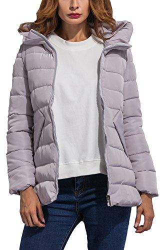 La Vogue-Cappotto Invernale da Donna più Velluto Giubbotto Caldo Busto 97cm Grigio