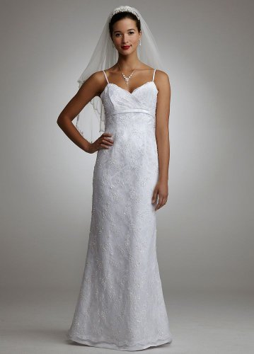 Davids Bridal Beaded Lace Spaghetti Strap Gown Style M8824 White 10 Gowns For BEST SHOPPING PRICES REVIEW FOR DEALS BLACK FRIDAY 2011