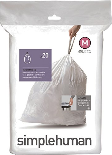 simplehuman Code M Custom Fit Trash Can Liner, 1 refill pack (20 liners), 45 L / 12 Gal (Simplehuman Trash Can Liner M compare prices)