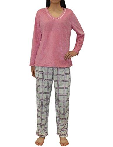 2-pcs-set-liz-claiborne-womens-gorgeous-polar-fleece-pajama-top-pants-set-m-multicolor