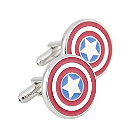 Men\'s Wedding Shirt Surper Hero Cufflinks (America Captain)