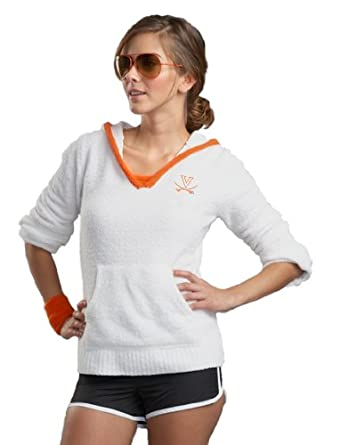 NCAA University of Virginia Kashwere U V-Neck Hoodie (White Orange, Medium 4-6) by Kashwere U