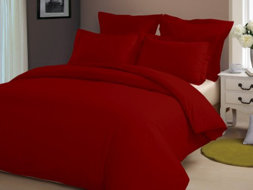 Congo Linen 510 Tc Italian Finish Egyptian Cotton Luxurious Sheet Set With Extra 2 Pillowcases 510 Tc Solid ( Queen , Blood Red )