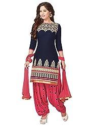 DivyaEmporio Women's Faux Crepe Blue and Pink Salwar Suit Dress Material