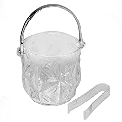 Ice Bucket with Handle and Tongs Clear