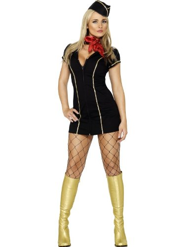 Fever Fly Me Costume – Black and Gold Trim – Ladies