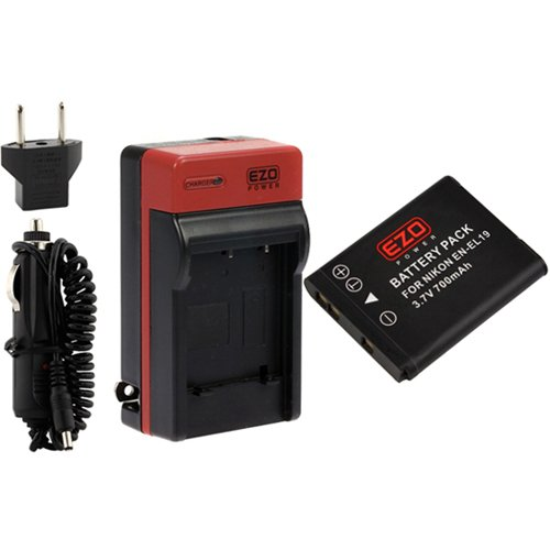 Ezopower En-El19 Battery And Travel Charger Kit For Nikon Coolpix S32, S6800, S6500, S5300, S5200, S2700, S4200, S6400, S3500, S3300, S4300, S3100, S4100, S100 Digital Cameras *W/ Accessory Pouch Case*
