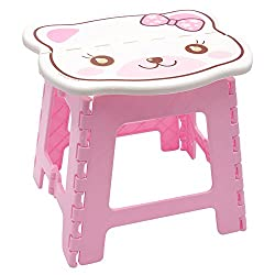 Super Strong 24cm x 22cm x 24cm Folding Step Stool for Kids, Cute cat design Stepping Stools, Garden Step Stool, holds up to 75KG - By Kurtzy ( Pink )