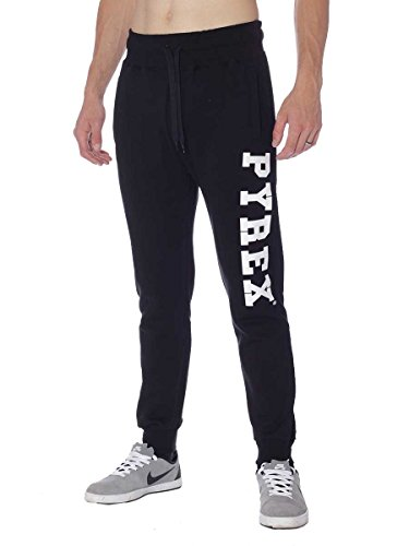 Pantalone Pyrex in Felpa Cotone Invernale 33002 Made in Italy Nero, S MainApps