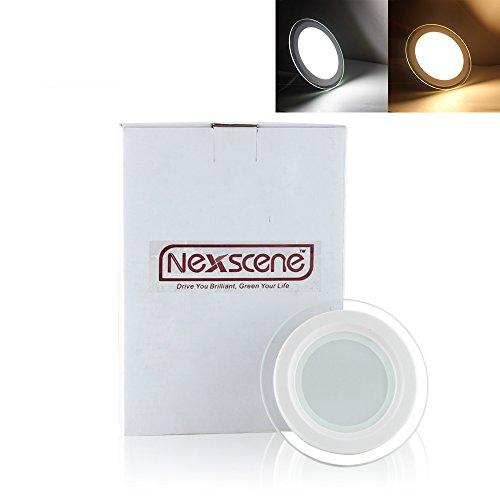 Nexscene 6W 4 Inch 5730 Smd Energy Saving 6500K-7000K Glass Round Ceiling Panel Led Recessed Lighting Downlight Lamp (Cool White)