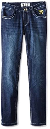 Southpole Big Girls' Embroidered And Rhinestone Skinny Jean, Dark Sand Blue, 7