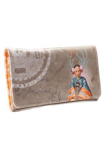 Papaya Feather Girl Tri-Fold Women's Wallet.