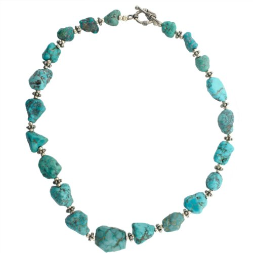 Sterling Silver 18 Inch Freeform Graduated Turquoise Stone Necklace