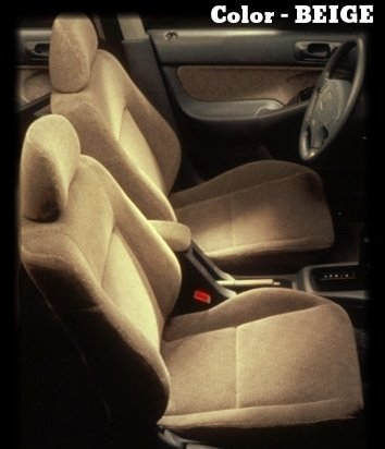 Honda Accord Beige / Tan Front Set Premium Velour Double Stitching Seat Covers - 2 Front Low Back Bucket Seat Covers W/ 2 Front Headrest Covers A35 front-1073957