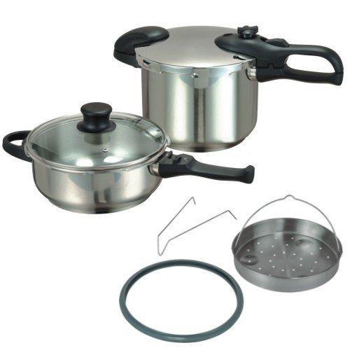 Schnellkochtopf, Kochtopf, Druckkochtopf Set – Induktion – 6 und 3 Liter – mit Induktionsboden aus Edelstahl – 7 teilig