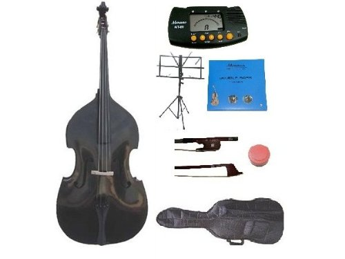 GRACE 1/4 Size Black Upright Double Bass with Bag,Bow,Bridge+2 Sets Strings+Rosin+Music Stand+Metro Tuner (Black Upright Bass compare prices)
