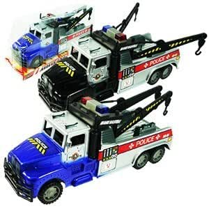 Friction Powered Police Tow Truck Toy For Kids