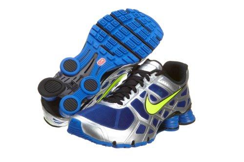 4f9367edd40 Nike Shox Turbo 12 Mens Running Shoes 454166 407 Treasure Blue Volt  Metallic Silver Black Mens Shoes 454166 407 10