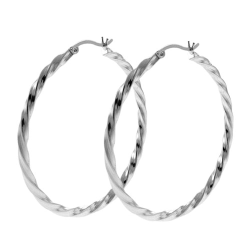 "1.75"" Stunning Large Round Twisted Loop Silver Hoop Earrings"