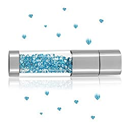 Techkey Jewelry Crystal USB Flash Drive for Girls,with 2 in 1 Anti-Dust Plug + Stylus/styli/Touch Screen Pen Set,Photo Frame Packaging,16GB,Azure