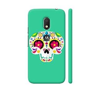 Colorpur Cute Skull On Green Designer Mobile Phone Case Back Cover For Motorola Moto G4 Play with hole for logo | Artist: The Artism