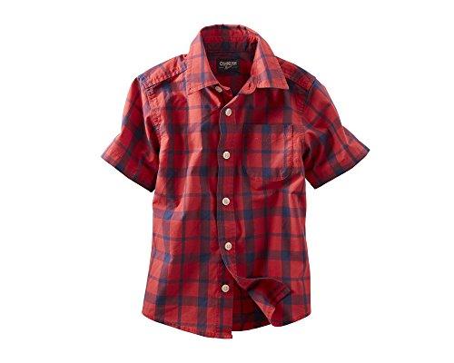 Oshkosh B'Gosh Boys' Woven Tee (Toddler/Kid) - Red Plaid - 4T front-652229