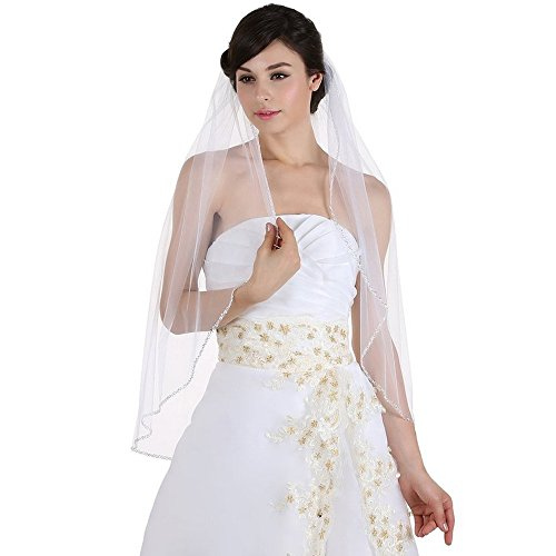 Meilishuo 1 Tier Crystals Edge Beaded Wedding Bridal Veils with Comb (Ivory)