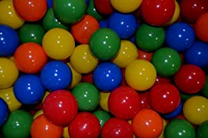 "150 Large 3.1"" Crush-Proof Ball Pit Balls - non-PVC Phthalate Free Plastic in 5 Colors - Guaranteed Crush-Proof"