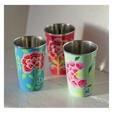 Image of Hand Painted Enamel Vibrant Floral Tumblers (3 set) - Fair Trade