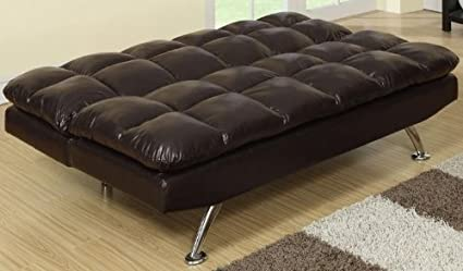 Espresso Faux Leather Adjustable Sofa Bed by Poundex