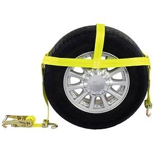 Wheel w/ Swivel Hooks & Ratchet (Single) - Car Tie Down