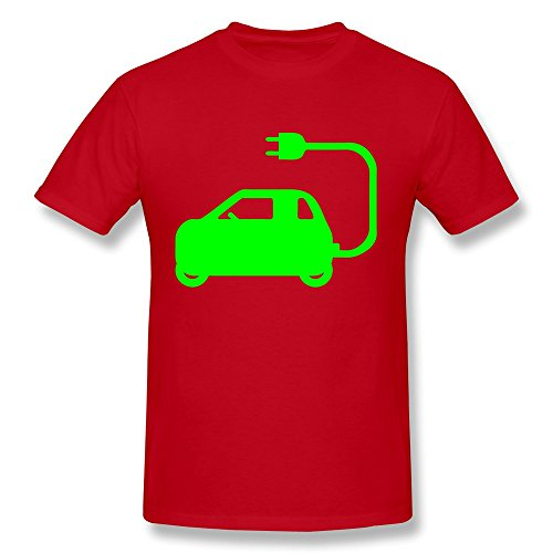 Fqy Mens Electric Car Symbol Cotton Round Collar T Shirt S Red