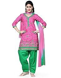 Saree Swarg Pink and Green Dress Material