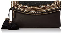 Vince Camuto Bessy Clutch, Black/Gold Metallic, One Size