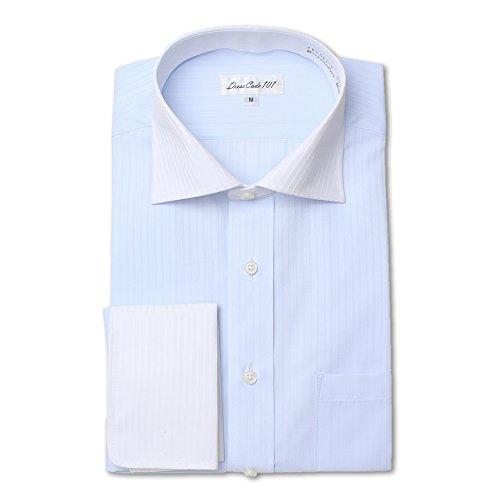 ドレスシャツ 長袖ワイシャツ Yシャツ ワイドスプレッド ダブルカフス クレリック