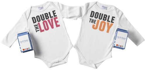 Spoilt Rotten - Double The Love & Double The Joy Twin Set Babygro / Bodysuit Organic Baby Clothing 100% Organic Sizes 12-18 months WHITE + in funky Milk Carton