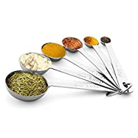 Measuring Spoons, X-Chef Best Metal Measuring Teaspoons Stainless Steel for Cooking & Baking - Set of 6 Includes (0.6ml, 1.25ml, 2.5ml, 5ml, 10ml, 15ml) - Engraved in Metric/US Measurements